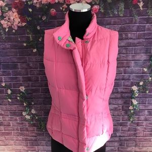 Lilly Pulitzer Pink Down Puffer Vest Small